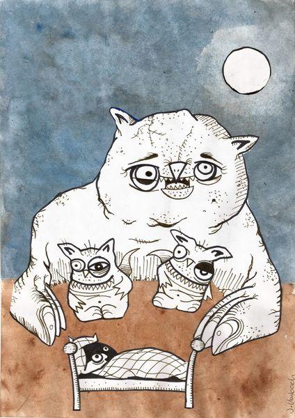 Monster, Vision, Nacht, Zeichnung, Alptraum, Illustration