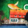Haus, Landschaft, Mond, Gemälde