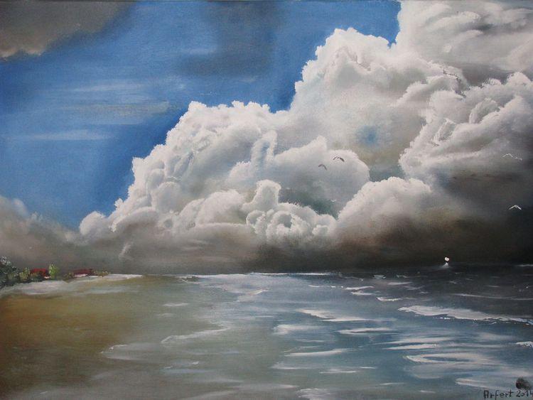 Malerei, Landschaft, Ölmalerei, Gewitter