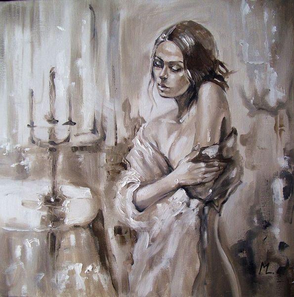 Ölmalerei, Figural, Braun, Retro, Frau, Malerei