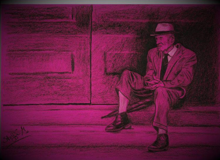 Pink, Treppe, Hut, Schatten, Mann, Schirm