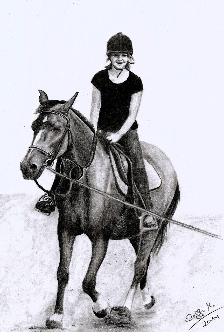 bild - reiten, pferde, bleistiftzeichnung, mädchen von