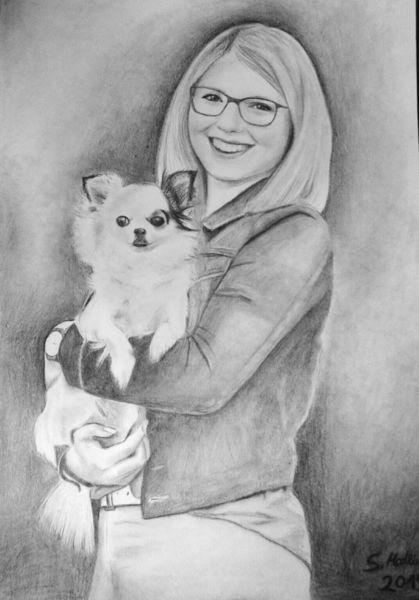 Hund, Lachen, Realismus, Liebe, Mädchen, Schwarz weiß