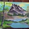 Birken, Berge, Landschaft, Teich