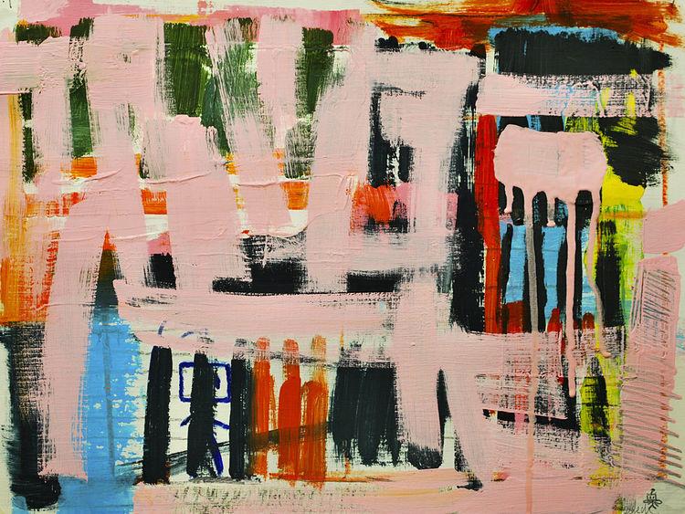 Malerei, Abstrakt, Rosa