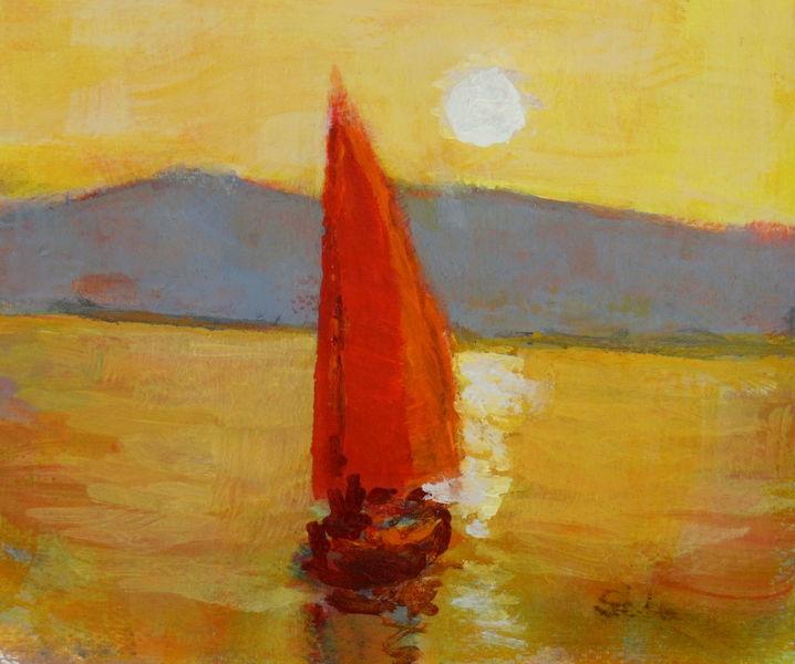 Wasser, Abend, Bieten, Sonnenuntergang, Segel, Malerei