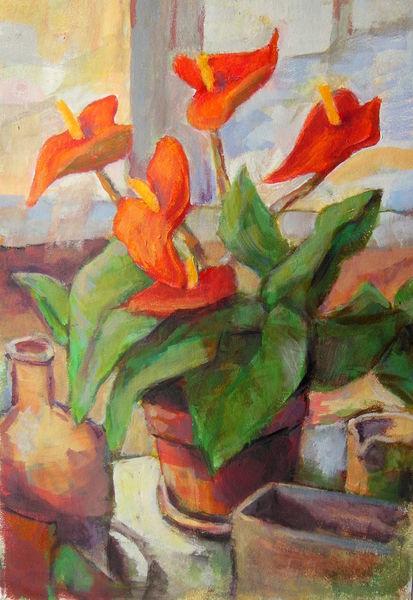 Blumen, Zimmer, Rot, Glas, Anturium, Flachen
