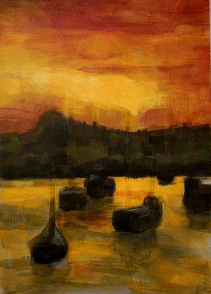 Boot, Abend, Sonnenuntergang, Gardasee, Sommer, Wasser