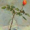 Rose, Stütze, Rot, Knospe