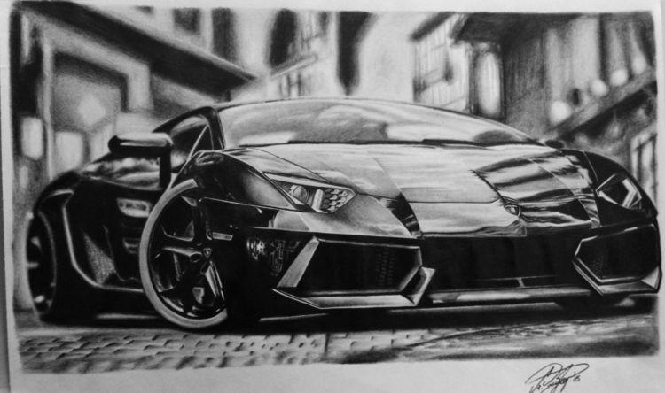 Zeichnen, Lamborghini, Auto, Aventador, Zeichnung, Zeichnungen