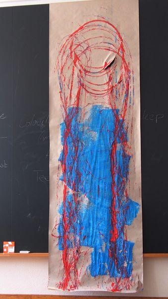 Spuren, Spuren legen, Malerei, Blau, Abstrakt, Packpapier