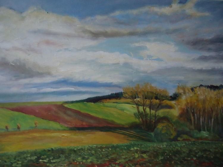 Baum, Himmel, Wolken, Herbst, Feld, Malerei