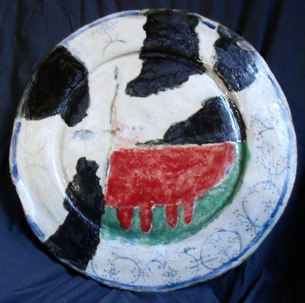 Keramik, Friesland, Wandteller, Kuh, Plastik, Blau