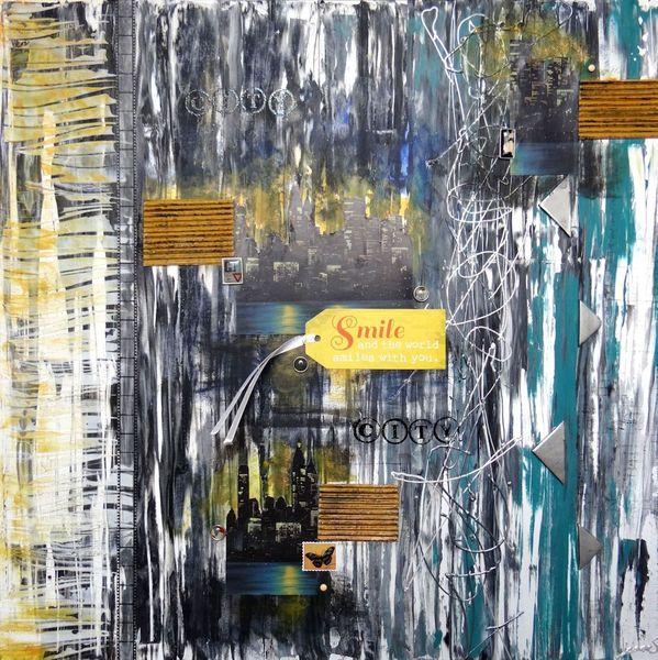 Handarbeit, Stadt, Geschenk, Skyline, Acrylmalerei, Abstrakt