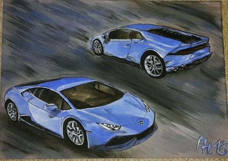 Lamborghini, Acrylmalerei, Blau, Auto, Malerei,