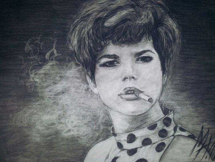 Frau, Portrait, Sehnsucht, Kohlezeichnung, Schauspieler, Zeichnung