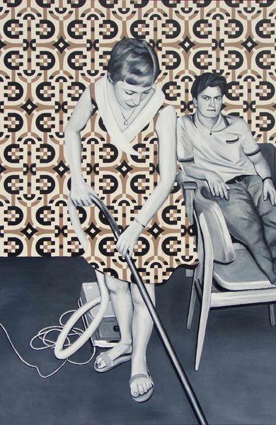 Frau, Ölmalerei, Mann, Malerei, Surreal, Hausfrau