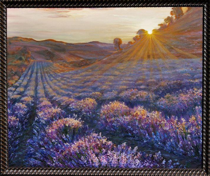 Sonne, Baum, Ölmalerei, Berge, Blau, Lavendel