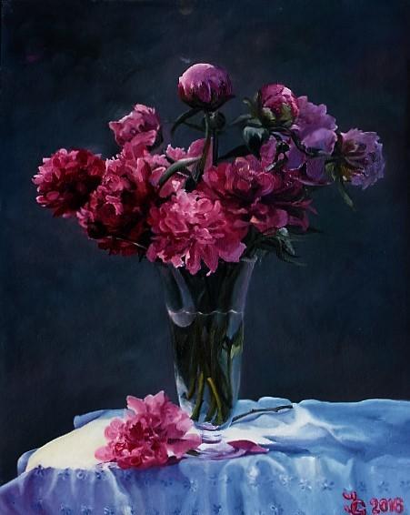 Tisch, Blumen, Ölmalerei, Glasvase, Weiß, Blumenstrauß