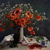 Tisch, Mohnblumen, Ölmalerei, Tasse