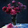 Tisch, Blumen, Ölmalerei, Glasvase