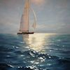 Meer, Sonne, Segelboot, Ölmalerei