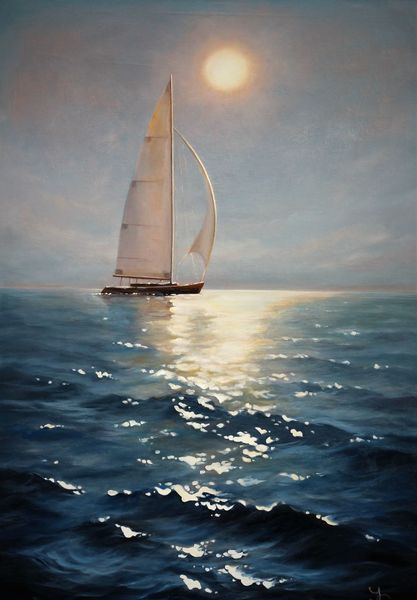 Segelboot, Ölmalerei, Blau, Wasser, Sonne, Meer