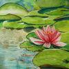 Rosa, Seerosen, Wasser, Aquarell