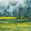 Sommer, Wolken, Aquarellmalerei, Gelb