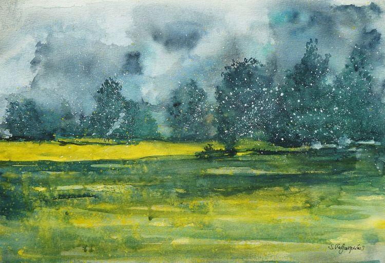 Aquarellmalerei, Sturm, Sommer, Wolken, Gelb, Aquarell