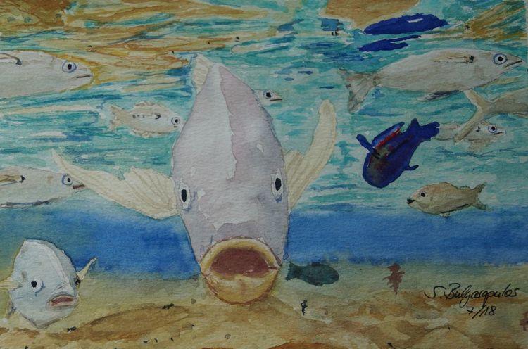Karibik, Meer, Wasserspiegelung, Fisch, Aquarell, Südsee