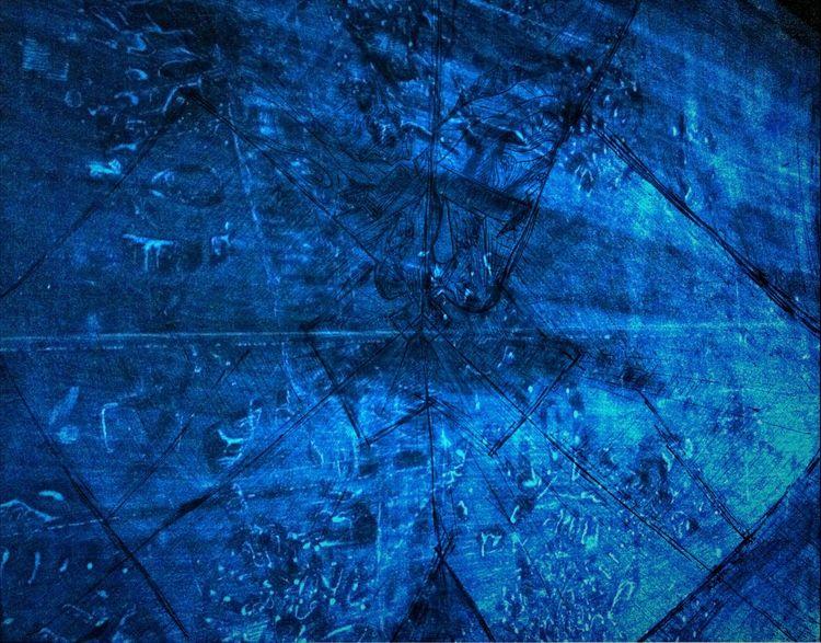 Blau, Mischtechnik, Dunst