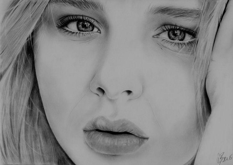 Castell, Frau, Radierer, Zeichnung, Realismus, Bleistiftzeichnung