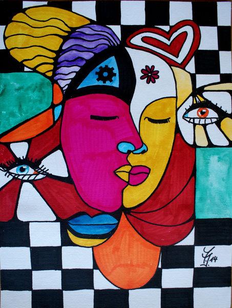 Kuss, Mann und frau, Gefühl, Malerei