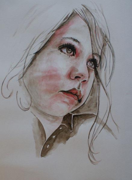Jung, Gesicht, Zeichnen, Zeichnung, Mädchen, Bleichen