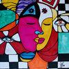 Gefühl, Kuss, Mann und frau, Malerei