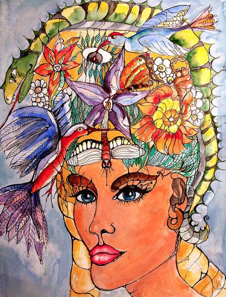 Surreal, Frauenportrait, Mischtechnik, Gekritzel, Tusche, Malerei