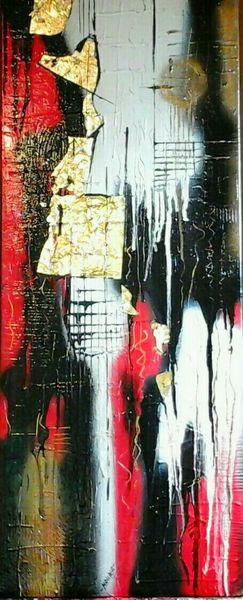 Rot schwarz, Weiß, Modern, Abstrakt, Malerei, Schwarz