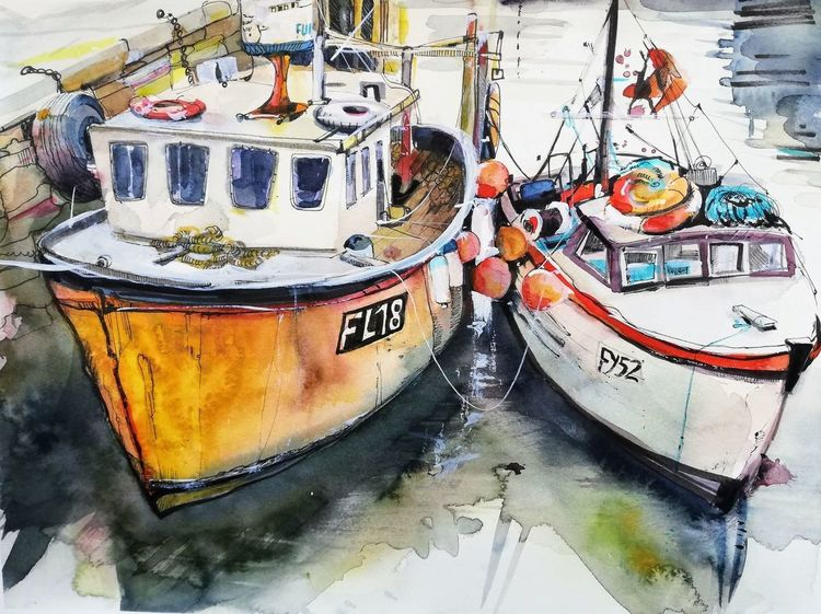 Hafen, Boot, Fischerkahn, Cornwell, Malerei, England