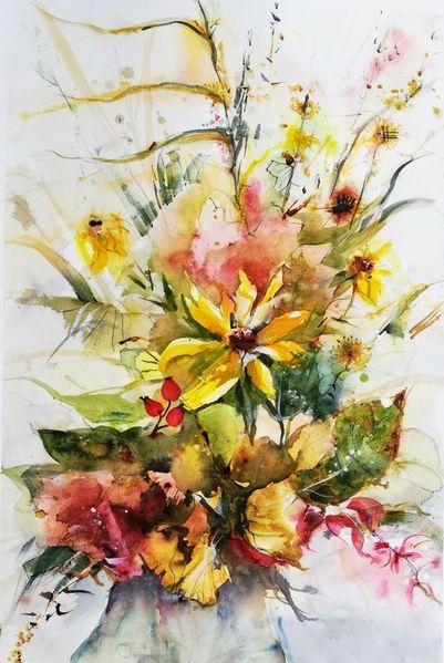 Farbtönen, Blumen, Herbstrau, Herbst, Goldige, Aquarell
