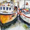 Fischerkahn, Cornwell, Hafen, Boot