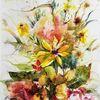 Goldige, Farbtönen, Blumen, Herbstrau