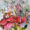 Muster, Blumen, Gras, Rot