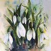 Schneeglöckchen, Blumen, Weiße blüten, Aquarell