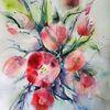 Aquarellmalerei, Tulpen, Rote blumen, Aquarell