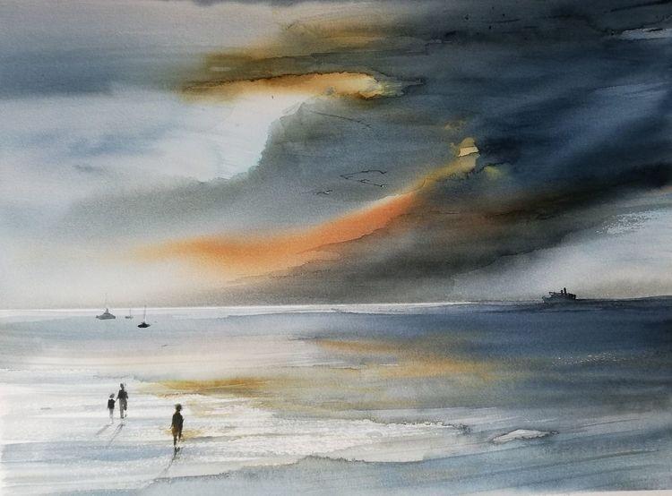 Strand, Wolken, Sonne, Himmel, Aquarell