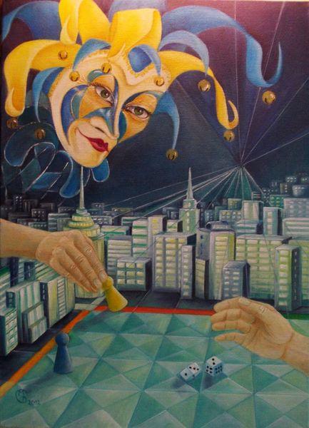 Politik, Ölmalerei, Macht, Fantasie, Stadt, Würfel