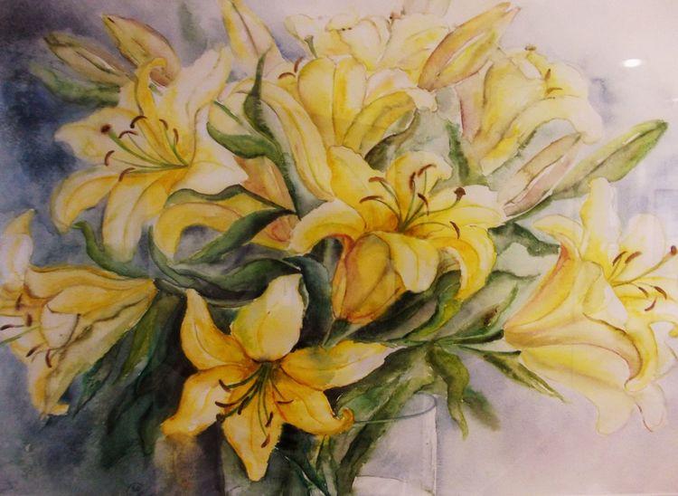 Aquarellmalerei, Lilien, Pflanzen, Blumen, Aquarell