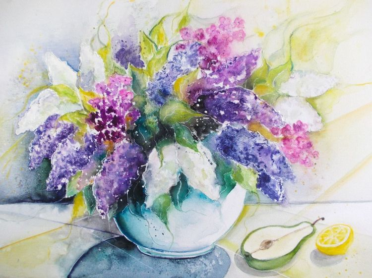 Aquarellmalerei, Flieder, Blumen, Lila, Pflanzen, Frühlingsstrauß