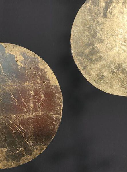 Planet, Mond, Kugel, Blattgold, Schwarz, Malerei